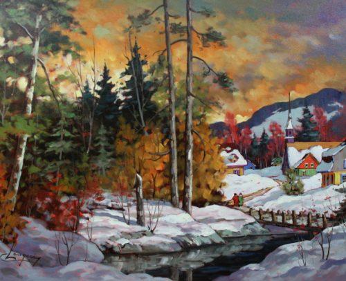 Claude Langevin Artist, Au Degel 30x40