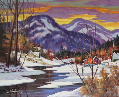 Claude Langevin Artist, Au pied des monts 24x30
