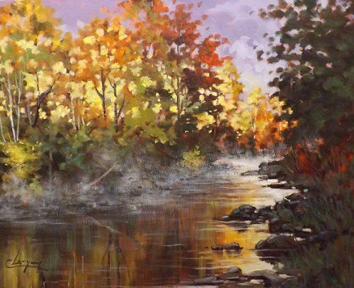 Claude Langevin Artist, Brume-du-matin-Riviere-Noire- 24x30