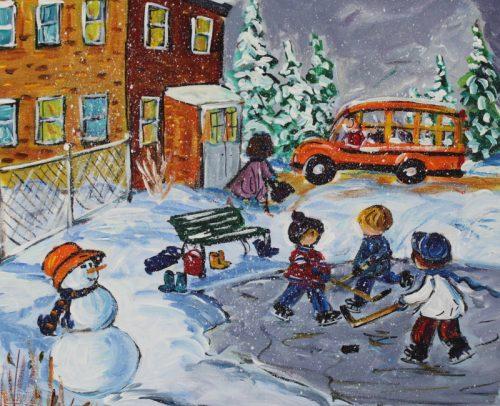 Katerina Mertikas Artist, After School Hockey Game 16x16