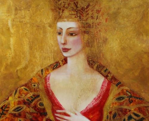 Ludmila Curilova Artist, Golden Shawl 24x30