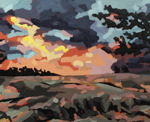Megan FitzGerald Artist, Sunset at Georgian Bay 18x36