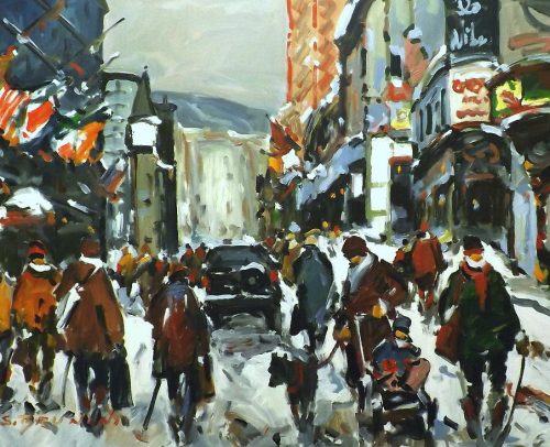 Brunoni Artist, Montreal, Rue de la Montagne 36x48